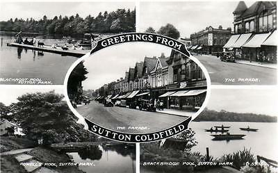 Sutton Coldfield Multi View unused RP old postcard by Valentines 1940