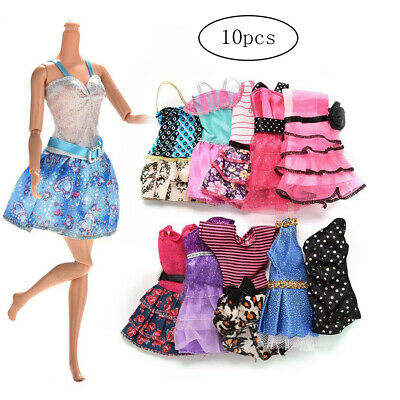 10Pcs Sweet Barbie Doll Girls Different Style Fashion Clothes Dress Party Decor