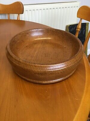 Beautiful  Turned Oak Footed Fruit Bowl