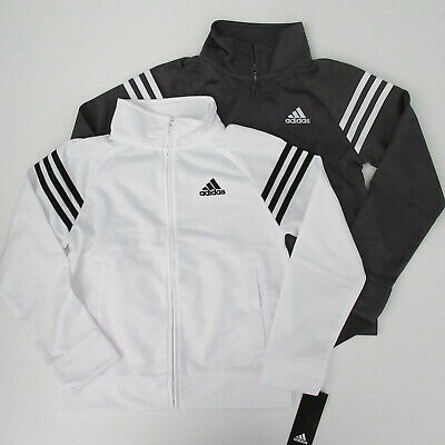 NWT Adidas Boys LS Three Stripe White Gray Tricot Track Jacket Sz S M L NEW $45