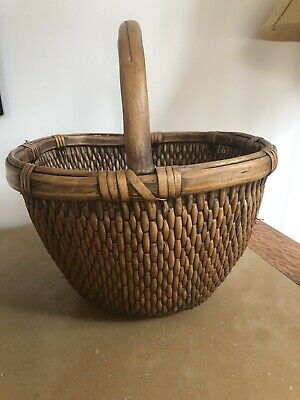 Vintage Chinese Willow Market Basket Antique