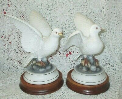 Large White Doves on Wood Pedestal Pair of 2 By Andrea Sadek Signed