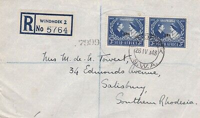 South West Africa 1948 Reg Commercial Cvr First Day Silver Wedding S. Rhodesia