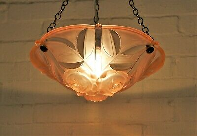 An Original 1920s Art Deco French Glass Plafonnier Ceiling Light Deeply Moulded