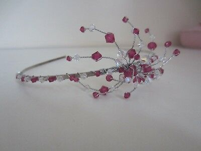 Ladies pretty pink tiara headband for bridesmaids or proms