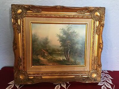 Vintage Ornate Swept Gilt/Gold Picture Frame with oil picture #5321
