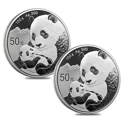 Lot of 2 - 2019 150 gram Chinese Silver Panda 50 Yuan .999 Fine Proof (w/Box &