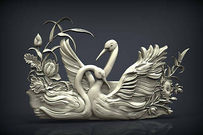"3d stl Model for CNC Router Machine Artcam Vectric Aspire ""Swans decor"""