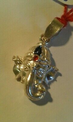 .800 Indian Silver Bracelet Charm/Pendant - Set with 2 Stones - Ganesh.