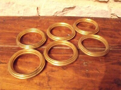 Set 6 Antique Vintage French Gilt or brass metal hollow Curtain Pole Rings