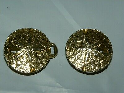 Vintage Signed Mimi di N 1974 Gold Tone Sand Dollar Belt Buckle