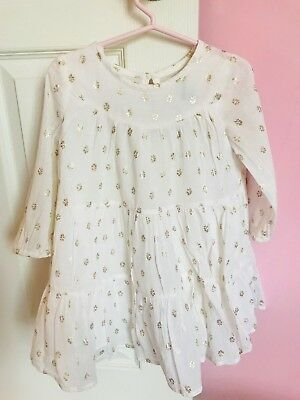 Gorgeous Toddler Girl Old Navy White And Gold Dress 2T Zara Style