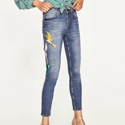 d200acfe ZARA DISTRESSED FLORAL Jeans New With Tags Size 2 - $29.99 | PicClick