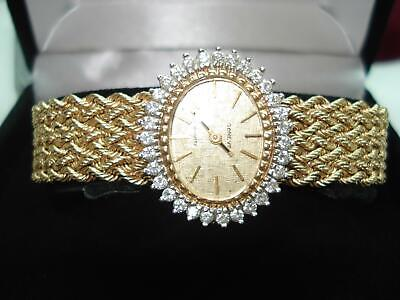 14Kt Gold Geneve 1 CT  Diamond Bezel Ladies Wristwatch 14 kt Gold Bracelet Band