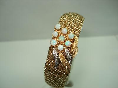 Opal Diamond 14 KT Gold Mesh Bracelet Hidden Wristwatch Flip Top  Serviced