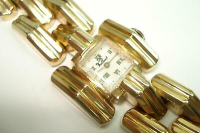 14Kt Gold Vintage Kelbert Ladies Fancy 14 Kt Bracelet Hand Winding Wristwatch