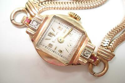 14 Kt Rose Gold Diamond Ruby Bulova Vintage Ladies Wristwatch