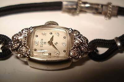 14Kt White Gold  Diamonds Ladies Elgin Wristwatch 19 Jewels