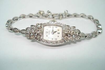 Hamilton 14Kt Diamond Ladies Vintage Wristwatch Matching Diamond Band