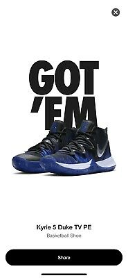 287d70b4874f NIKE KYRIE IRVING 5 Duke TV PE Black Blue Devils CI0306-901 Size 11 ...
