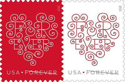 Scott #4955-56 Love: Forever Hearts – (Attached Pair) 2015 Forever MNH