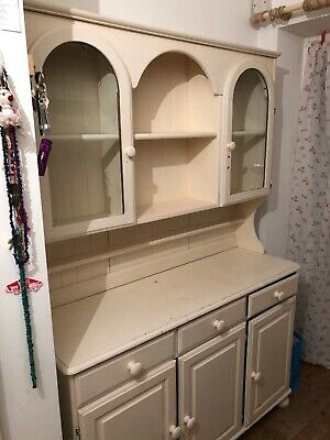 Vintage Style Painted Ducal Pine Dresser With Arched Window/ Cupboard Doors