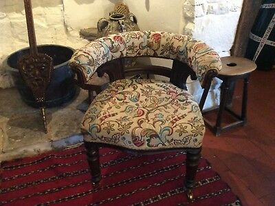 Victorian Horseshoe Backed Library Office Chair Bedrooom Easy Chair Project