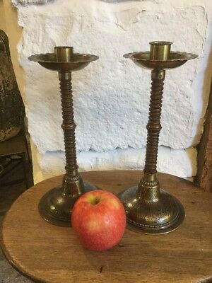 Arts & Crafts Oak and Brass Candlesticks WMF ?