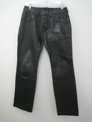 MR. S San Francisco Black Leather Button Fly Pants Jean Pockets Size 29 X 30