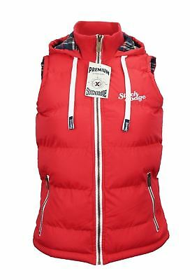 Womens Full Zip Vest Hooded Puffer Warm Fleece Jacket For Autumn Red Size 12