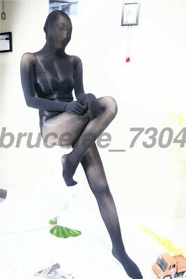 8d sheer Bodystocking Nylon extraglatt glänzend Bodysuit Catsuit mit hood gloves