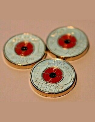 3 x Remembrance Day 2018 - Centenary Red Poppy $2 Dollar Coin