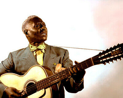 "LEAD BELLY AFRICAN AMERICAN BLUES GUITARIST 8x10"" HAND COLOR TINTED PHOTO"
