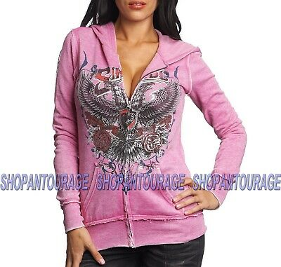 AFFLICTION Rock And Fire AW15700 New Women`s Tobacco Long Sleeve Top With Hood