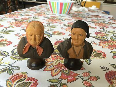 vintage Man and Lady painted wood carvings Black Forest Swiss nice detail Anri?