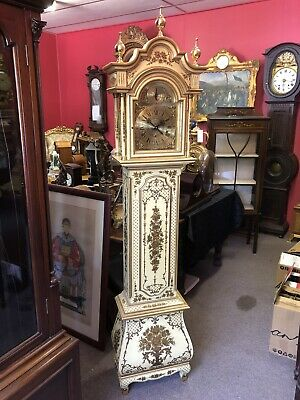 Antique Chinoiserie Longcase Grandfather Grandmother Chiming Clock Restored