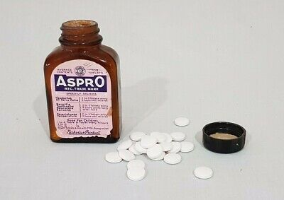 Vintage Household Aspro Tablets Bottle with some Contents