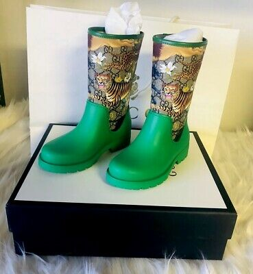 94a519150 Brand New Authentic Gucci Unisex Kids Green tiger/ lion/leopard Rain Boots