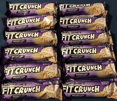 Robert Irvines Fit Crunch Whey Protein Baked Bars 12ct Birthday Cake