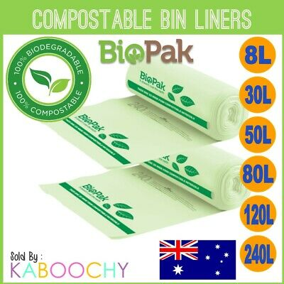 Biopak Compostable Bin Liners. Biodegradable Kitchen Tidy Rubbish Bags BULK