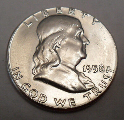 1958 D Franklin Half **90% Silver**  **free Shipping**