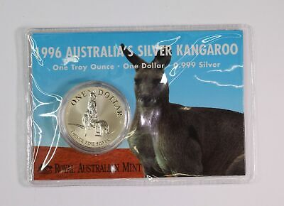 2005 RAM $1 SILVER KANGAROO FROSTED UNCIRCULATED 1oz COIN ON CARD