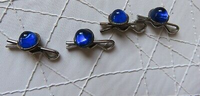 1 Lot of 4 Antique Buttons Brass & Cobalt Blue Glass