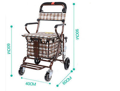 Bronze Four Wheels Convenient Foldable Shopping Luggage Trolleys With Seat #!