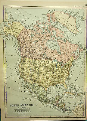 1894 Antique Map ~ North America ~ Dominion Of Canada Mexico Cuba United States