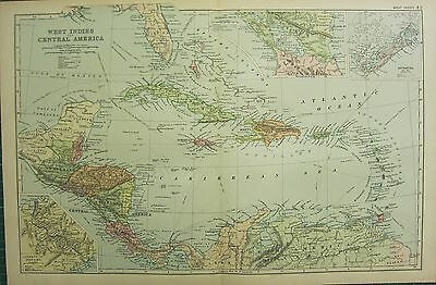 1894 Antique Map ~ West Indies & Central America Jamaica Haiti San Domingo Cuba