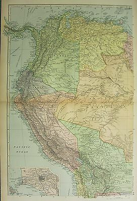 1894 Antique Map ~ South America Peru Brazil Colombia Venezuela Lima Environs