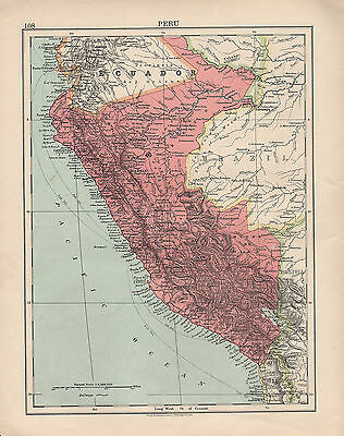 1925 Map ~ South America ~ Peru ~ Ayacucho Apurimac Cizco Lima