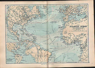 1895 Victorian Map ~ Atlantic Ocean ~ Currents Gulf Stream Trade Of Vessels