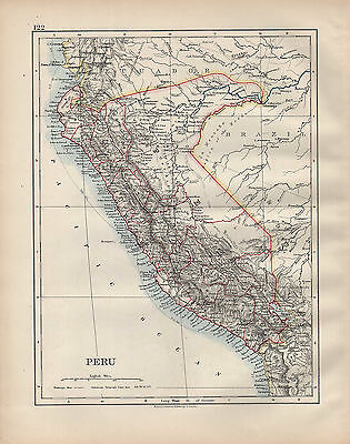 1902 Map ~ South America ~ Peru Loreto Amazonas